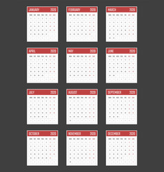 Calendar for 2020 starts monday calendar vector