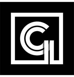 Capital letter G From white stripe enclosed in a vector