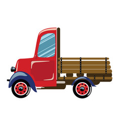 Cartoon retro truck a vector