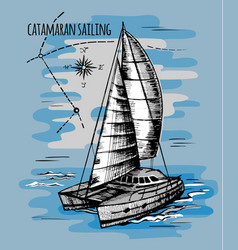 catamaran sailboat regatta summe vector image