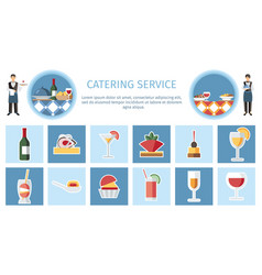 Catering service web page flat template vector