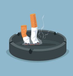 Cigarette in ashtray with smoking product vector