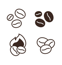 coffee beans linear icons set vector image