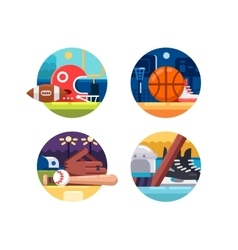 Colored icons popular sports vector