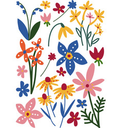 Colorful wild blooming flowers floral seamless vector