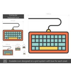 Computer keyboard line icon vector