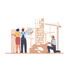 Construction site industrial workers architects vector