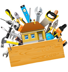 Construction tools with house vector
