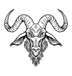 Contour drawing of horned goat head vector