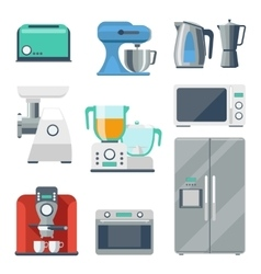 Cooking equipment flat icons set vector image