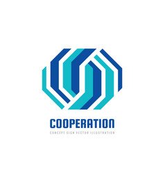 cooperation - abstract business logo design vector image
