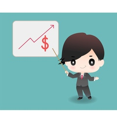 cute cartoon or mascot businessman points vector image