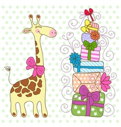 cute giraffe with a lot gifts vector image