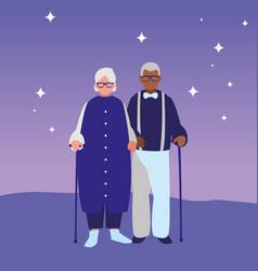 cute grandparents couple interracial characters vector image