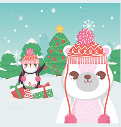 cute penguin and polar bear gifts trees merry vector image