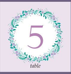 Cute wedding table number card template with hand vector