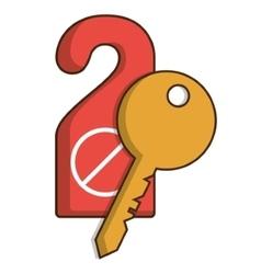 Door label and key of hotel service design vector