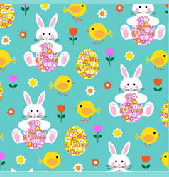 Easter bunny chick and flower egg pattern vector