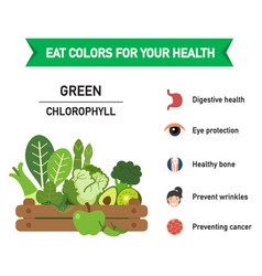 Eat colors for your health-green foodeat a vector