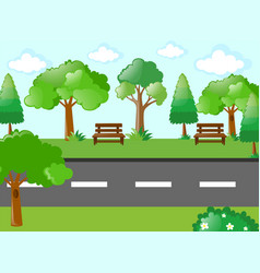 empty road through the garden vector image