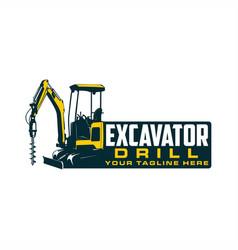 excavator drill logo vector image