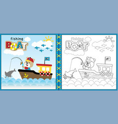 fishing boat cartoon with cute fisher vector image