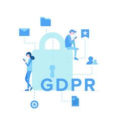 general data protection regulation flat poster vector image