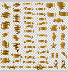 golden ribbon set in transparent background vector image