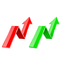 green and red 3d up arrows financial graph vector image