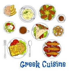 Grilled greek seafood dishes sketch drawing icon vector