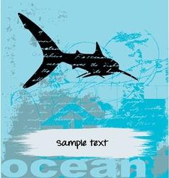 grunge fish background vector image