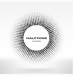 halftone circle halftone dots frame center element vector image