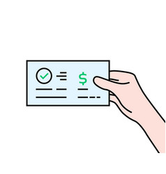 Hand holding contour bank check vector