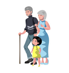 happy grandparents with their grandchildren vector image