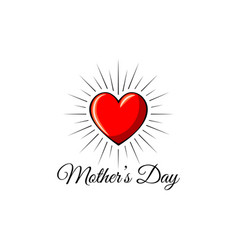 Happy mothers day red heart icon in beams vector