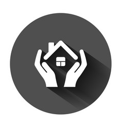 Home care icon in flat style hand hold house on vector