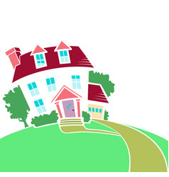 house on a top a hill in spring or summer vector image