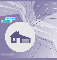 House with garage icon on purple abstract modern vector