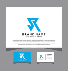 Initials jr logo with a business card vector