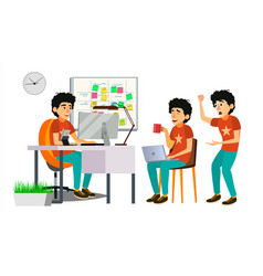 Junior programmer character web developer vector