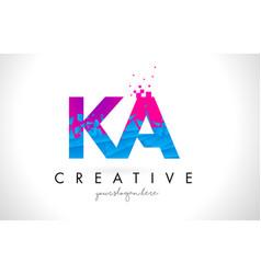 ka k a letter logo with shattered broken blue vector image