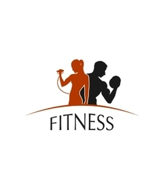 Label fitness club with the image of women and men vector