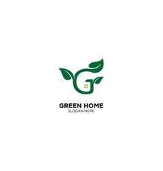 Letter g for green home logo design template vector