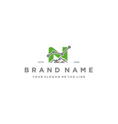 Letter n mountain finance logo design concept vector