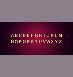 light neon character alphabet font letter set vector image