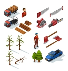 Lumberjack isometric icons set vector