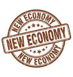 New economy brown grunge stamp vector