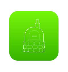 Oven icon green vector