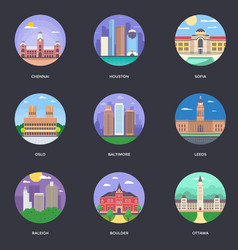 Pack of world cities 11 vector