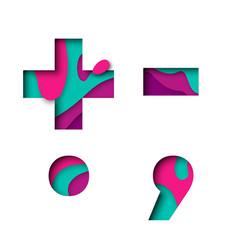 paper cut punctuation symbol plu minus sign vector image